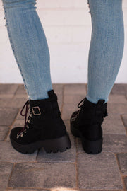 Back On Track Black Lace Up Boots