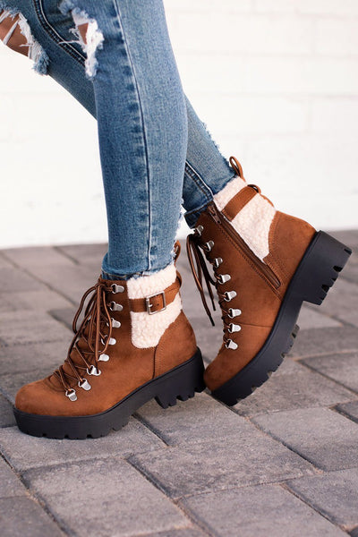 Back On Track Tan Lace Up Boots