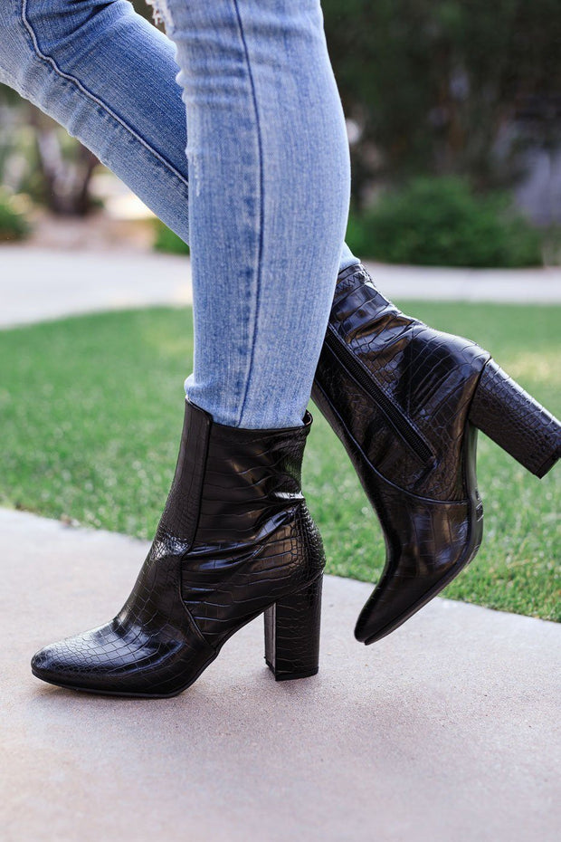 Black Vegan Croc Block Heel Boots