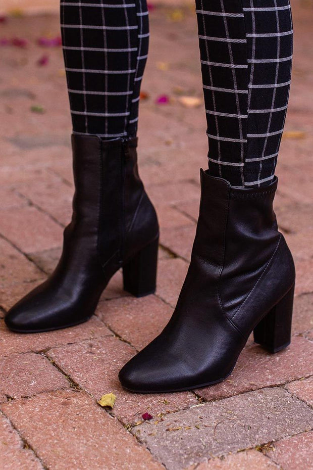 Bad Habits Black Vegan Leather Block Heel Boots