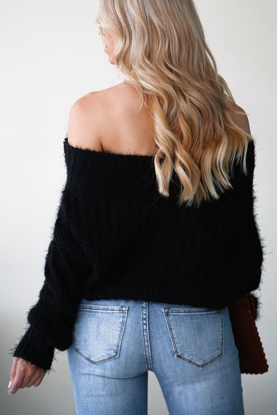 Black Off the Shoulder Knit Sweater