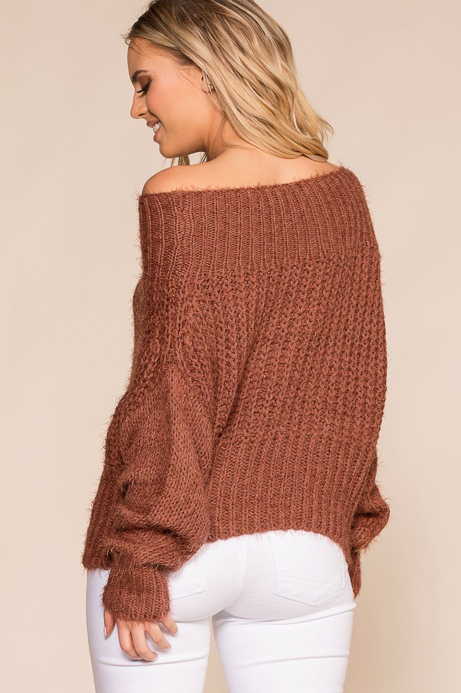 Priceless | Cocoa | Off The Shoulder | Knit Sweater | Womens
