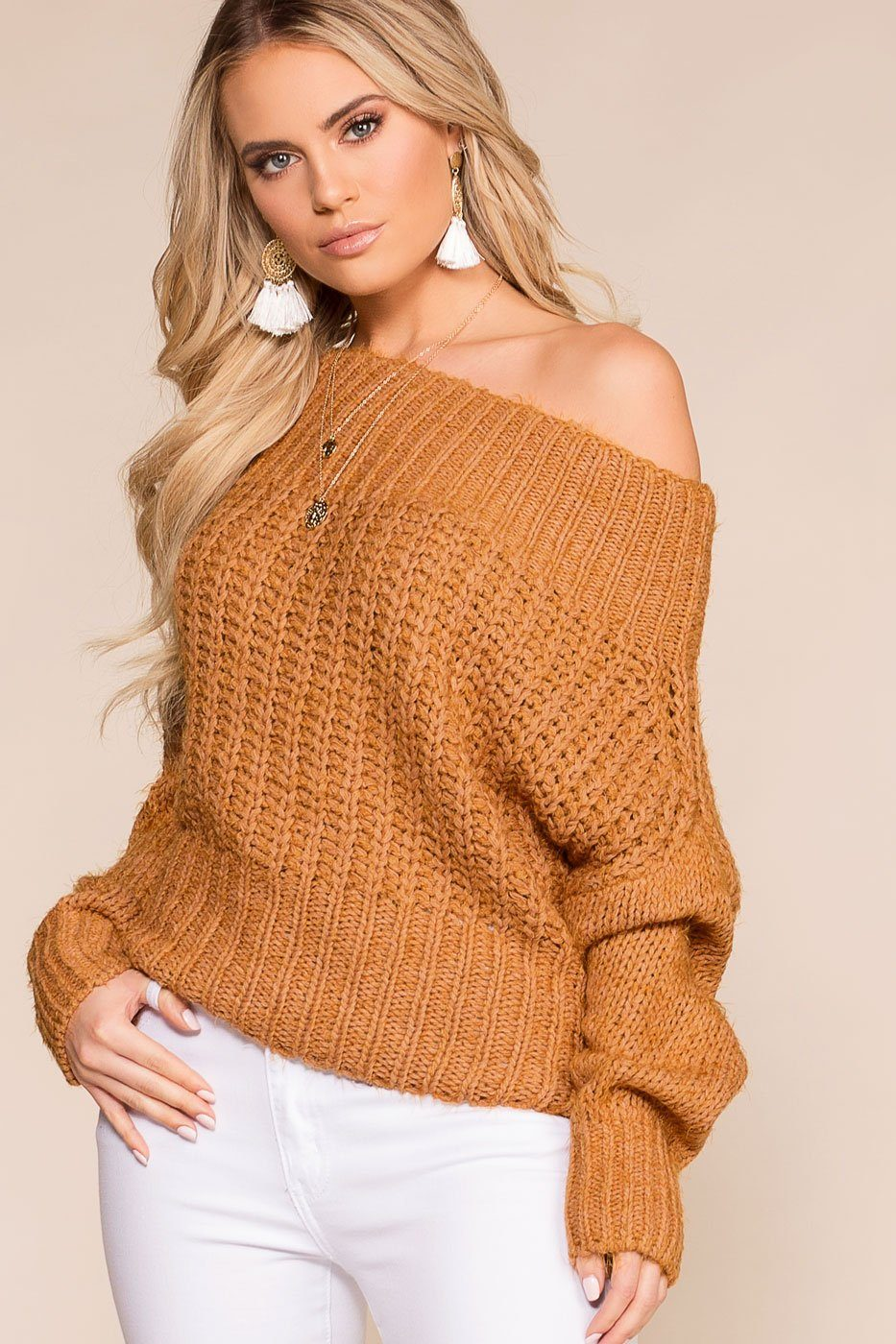 Priceless | Rust | Off The Shoulder | Knit Sweater | Womens