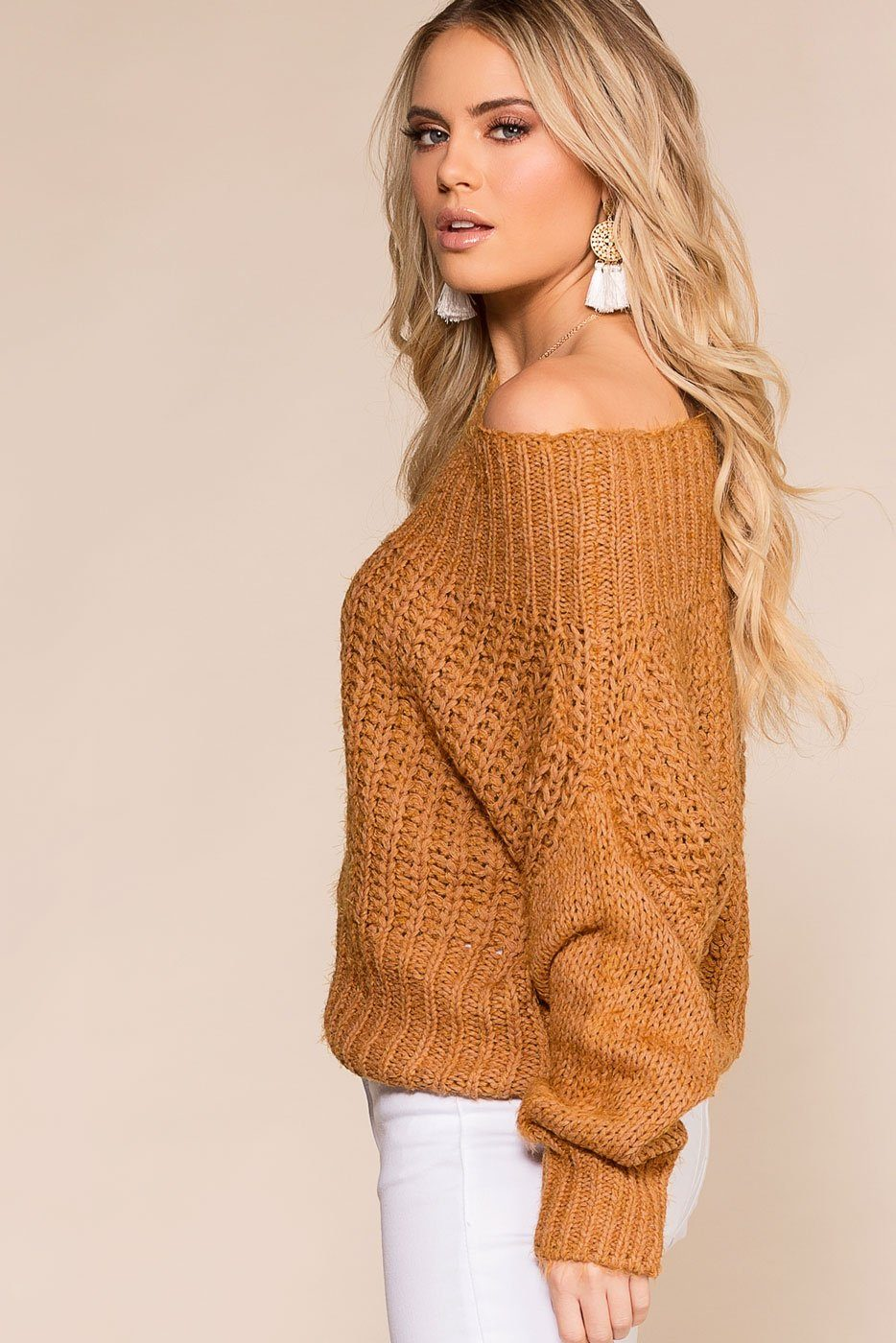 Rust Off the Shoulder Knit Sweater
