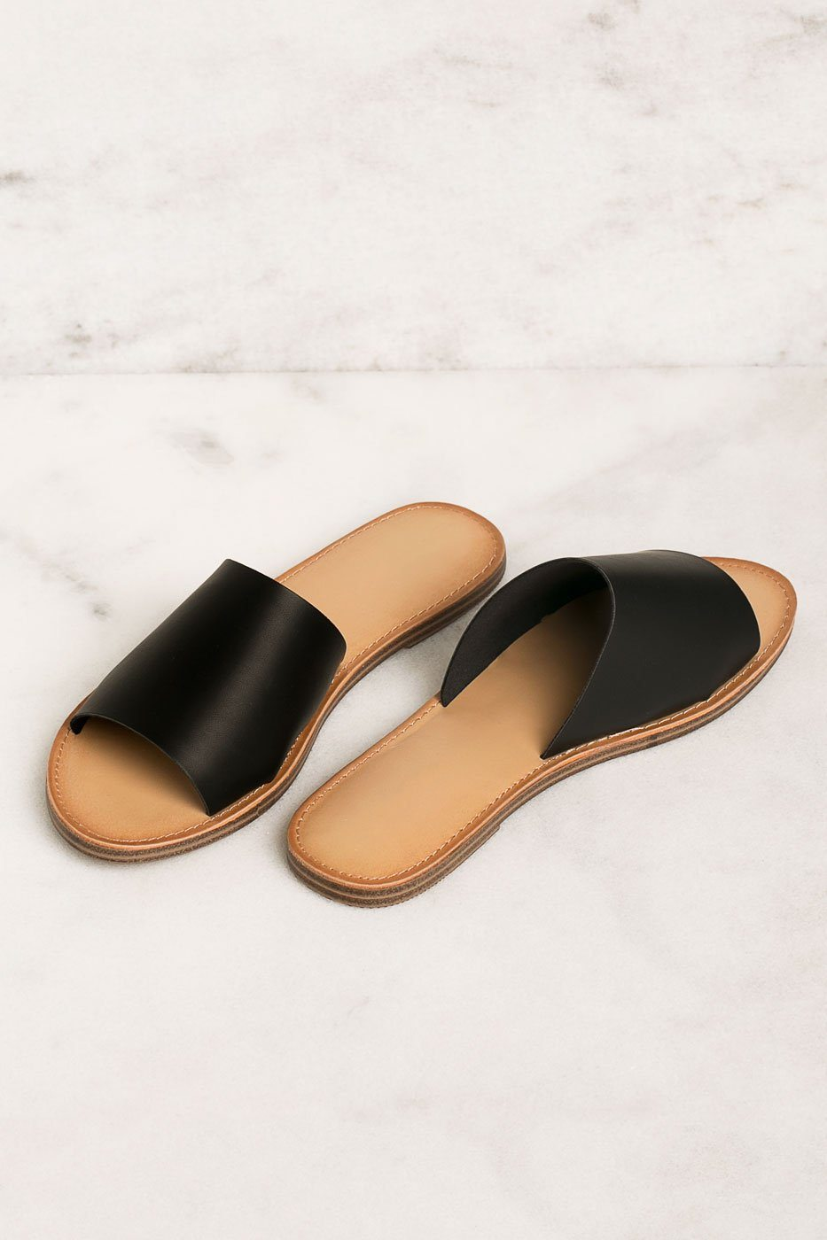Barbara Vegan Black Slide Sandals | Fortune Dynamic