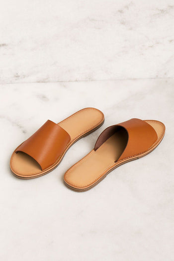 Vegan Dark Tan Slide Sandals