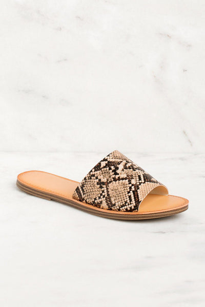 Barbara Vegan Snakeskin Slide Sandals | Fortune Dynamic