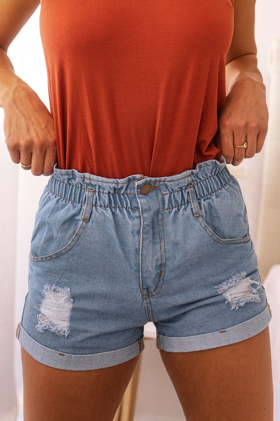 Medium Wash Denim Paperbag Shorts