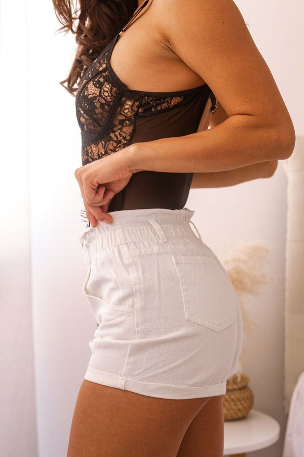 White Denim Paperbag Shorts
