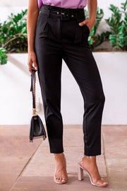 Be A Boss Black Belted Pants