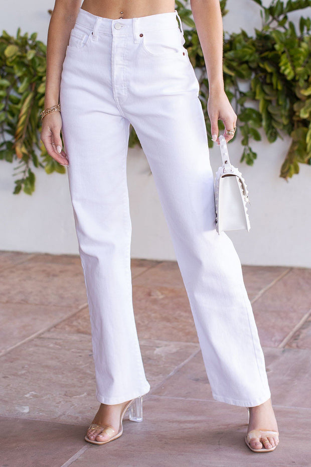 Be There White Flare Denim Pants