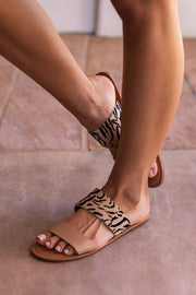 Tan Zebra Print Sandals by venntov