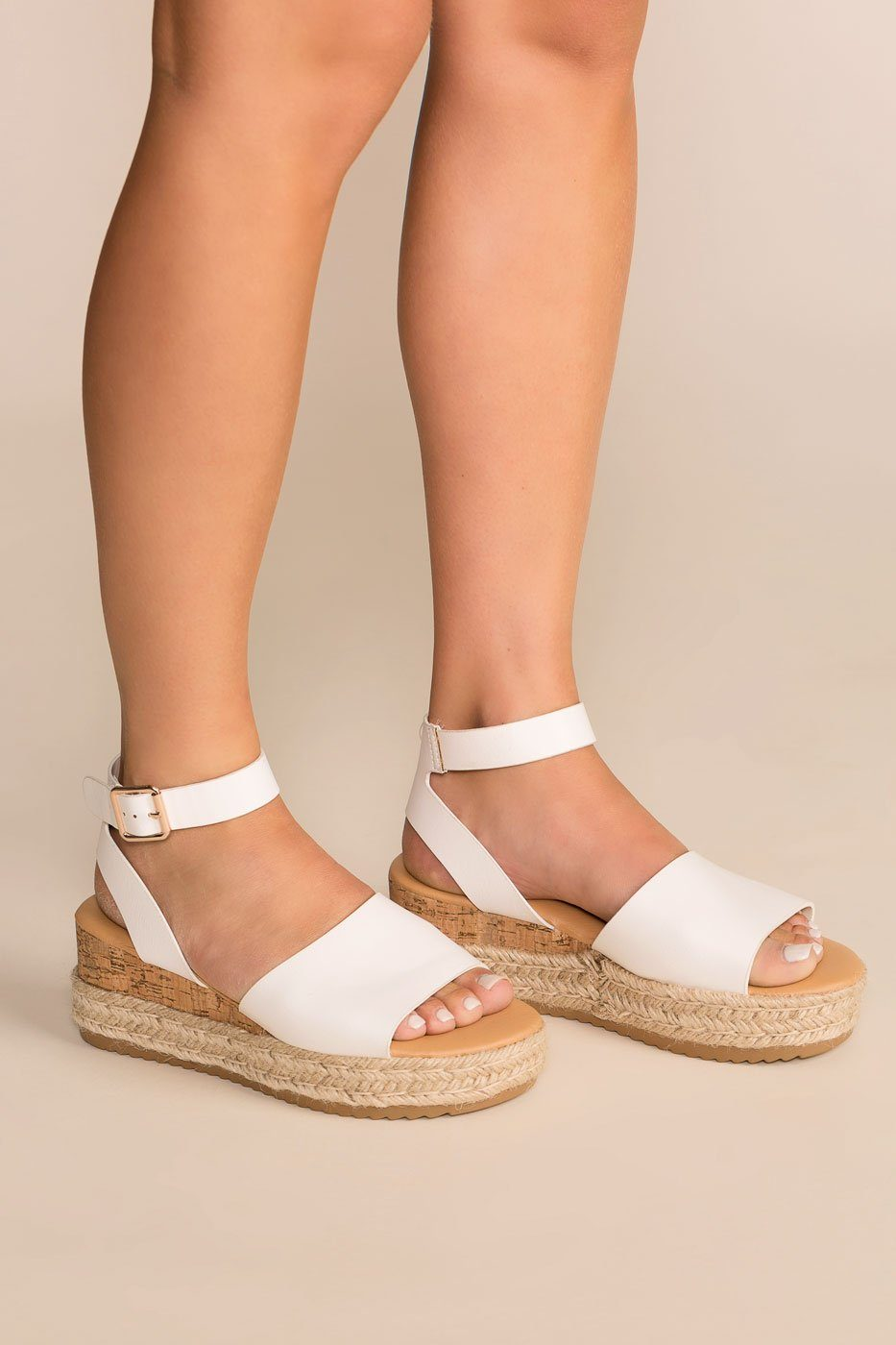 Beautiful Day White Platform Sandals by
