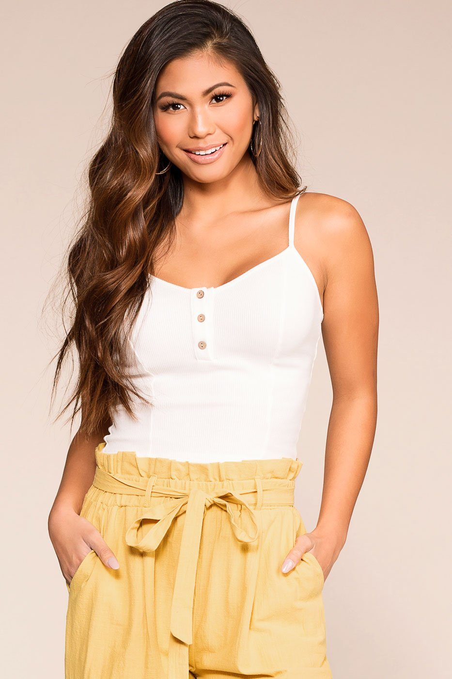 White Button Crop Top