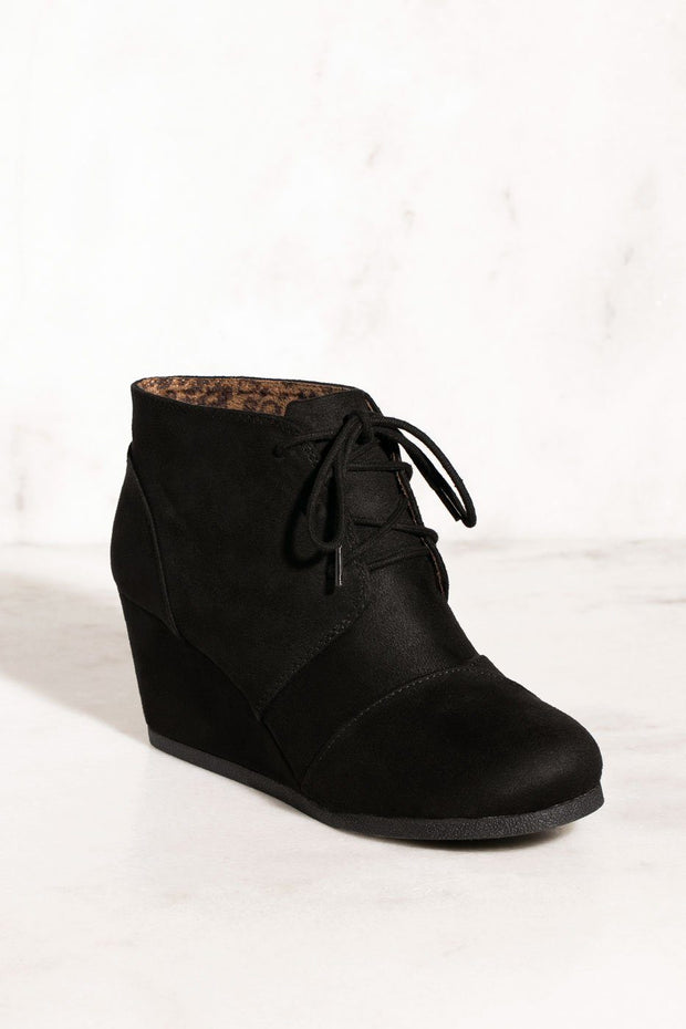 Begin Again Black Vegan Suede Wedges