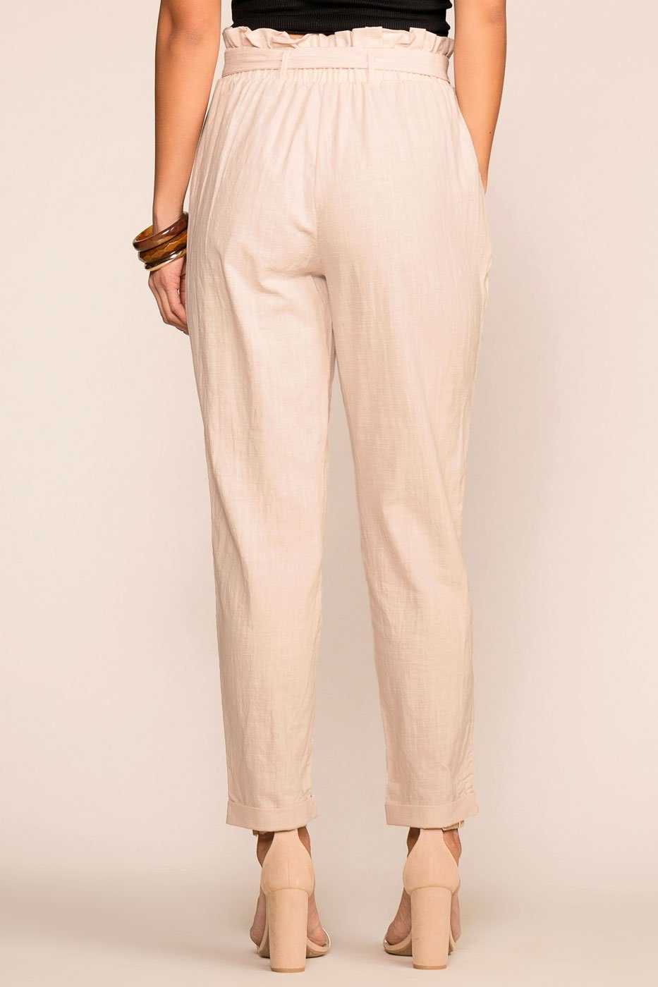 Beige Highwaisted Linen Paperbag Pants