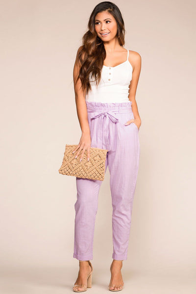 Lavender Highwaisted Paperbag Pants