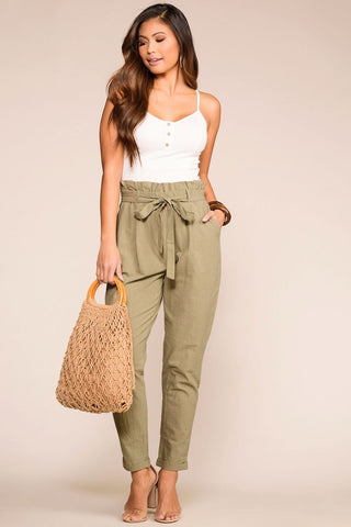 Christine High Waisted Tie Front Pants - Olive
