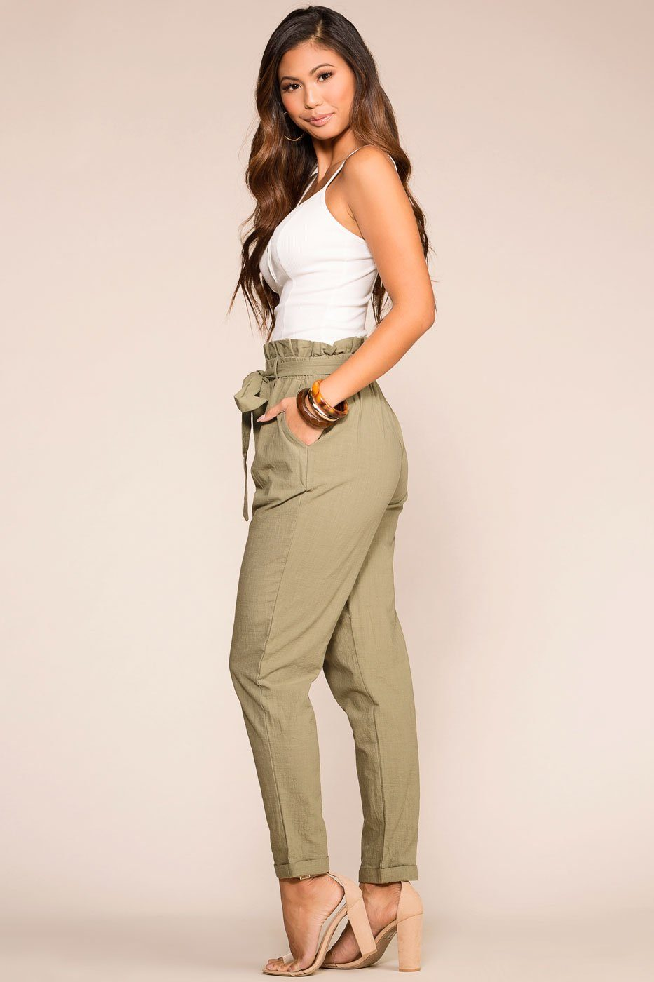 Priceless | Sage | Paperbag Pants | Womens