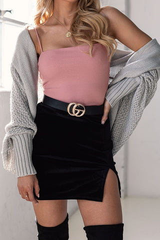 Talk To Me Mauve Mini Skirt