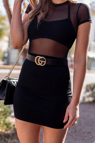 Auden Black Mini Bodycon Dress