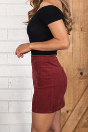 Burgundy Corduroy Mini Skirt
