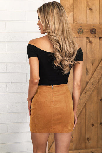 Tan Corduroy Mini Skirt