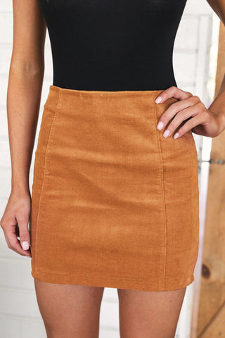No Loose Ends Tan Corduroy Skirt