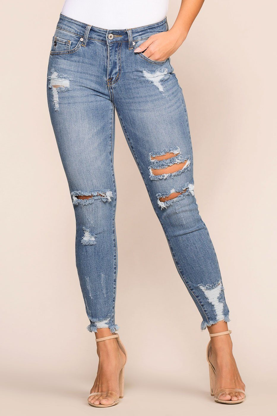 Priceless | Medium Wash | Distressed | Skinny Jeans | Womens