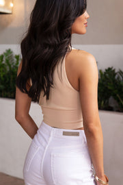 Taupe Ribbed Crop Tank Top