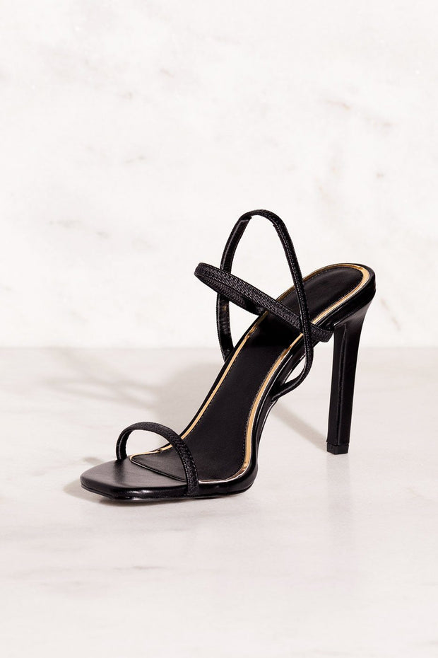 Besos Black High Heel Sandals