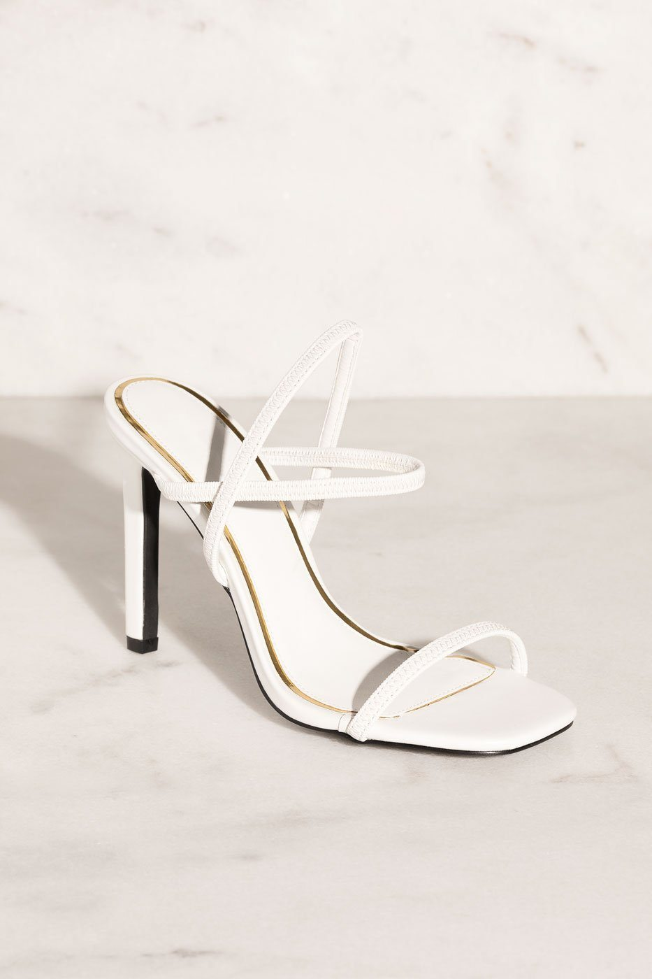 Besos White High Heel Sandals by Priceless