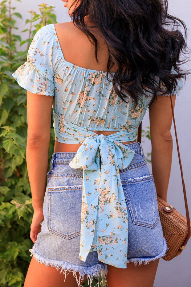 Mint Floral Crop Top