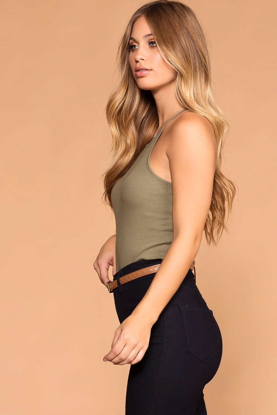 Bethany Sage Ribbed Knit Tank Top | Shop Priceless