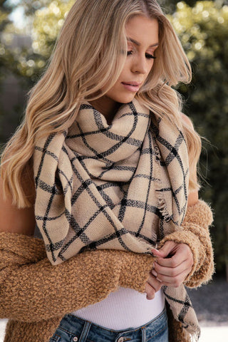 Connie Burgundy Plaid Blanket Scarf