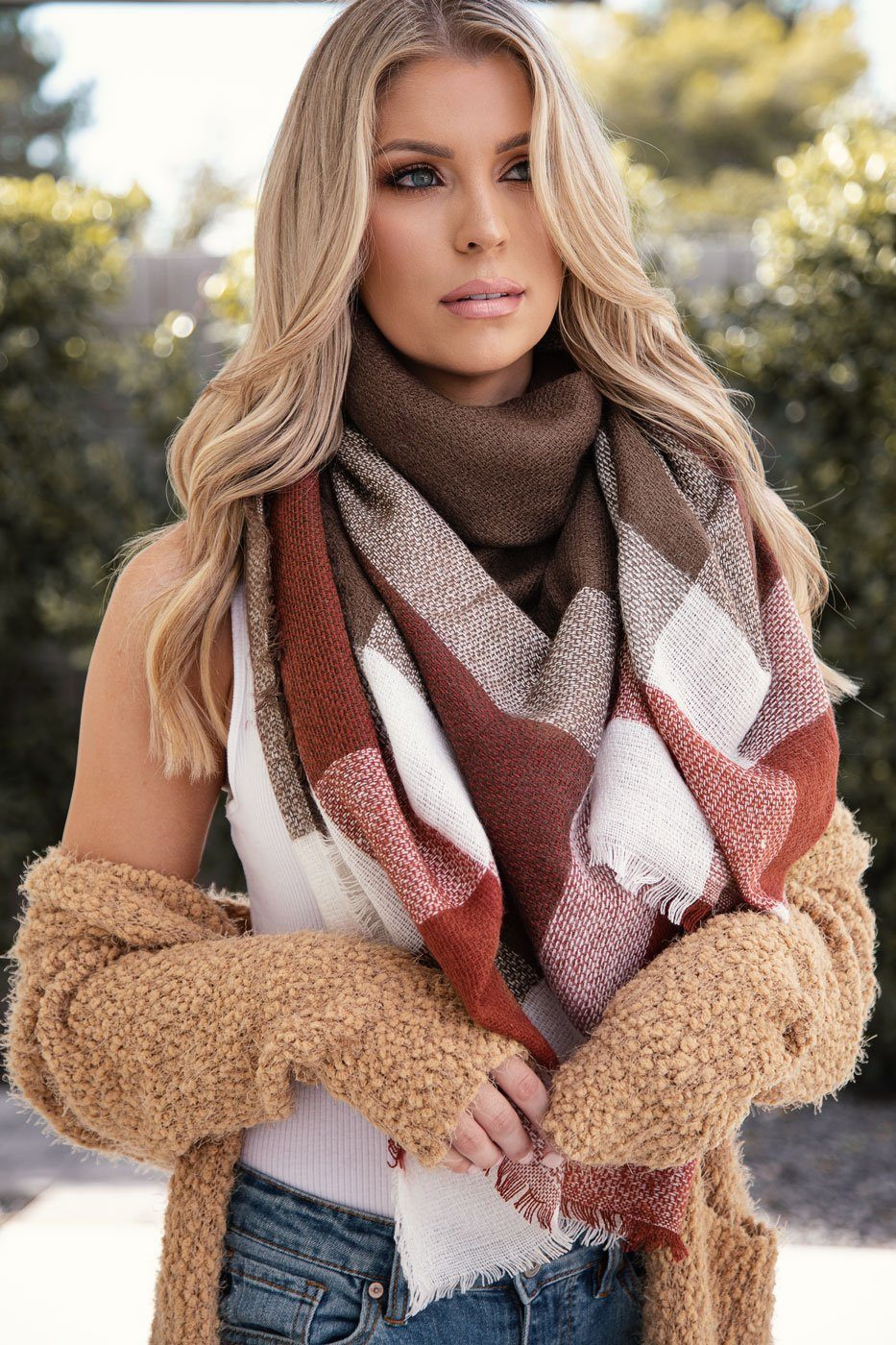 Better Together Rust Plaid Blanket Scarf