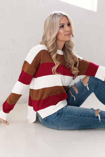 Burgundy and Tan Striped Sweater