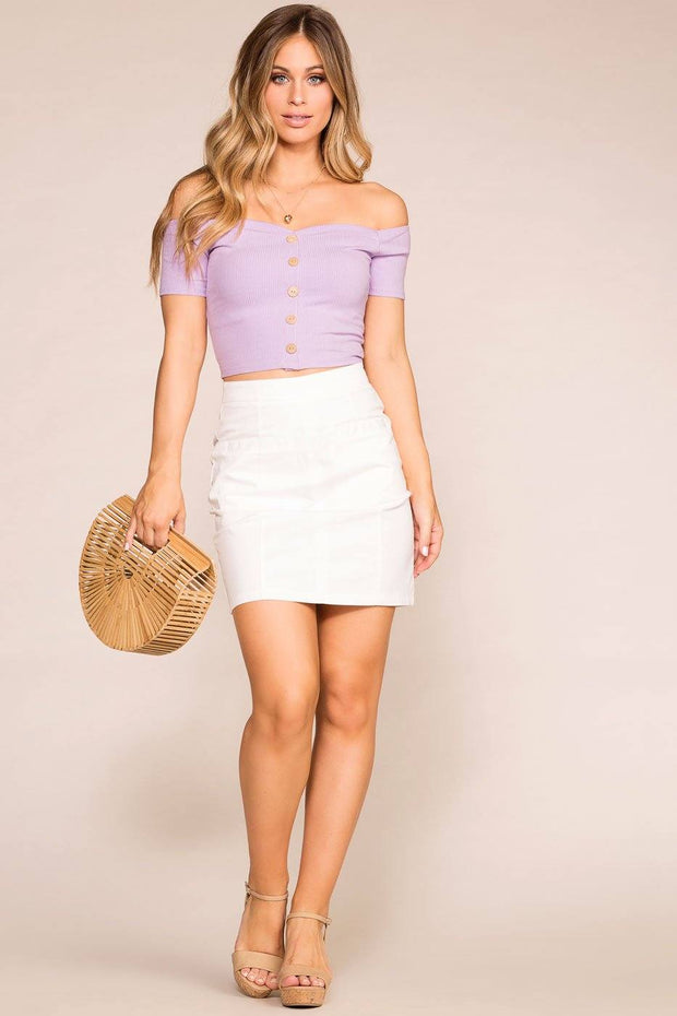 Lavender Off The Shoulder Button Top
