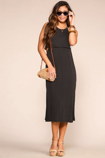 Black Layered Midi Dress with Halter Neck