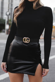 Blaise Black Vegan Leather Mini Skirt