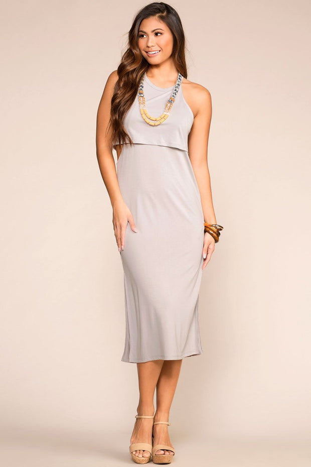 Grey Layered Midi Dress with Halter Neck