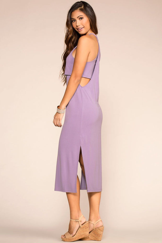 Lavender Layered Midi Dress with Halter Neck