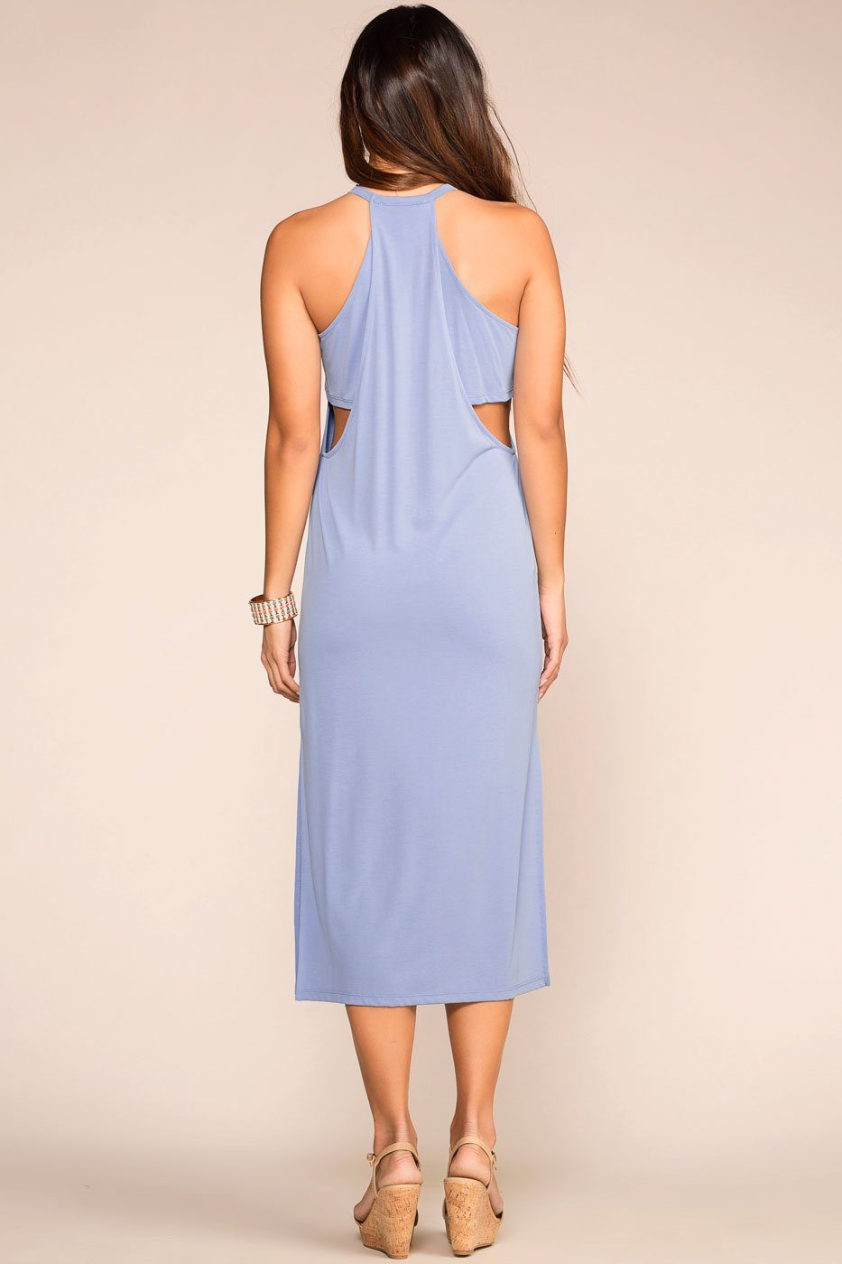 Light Blue Layered Midi Dress with Halter Neck
