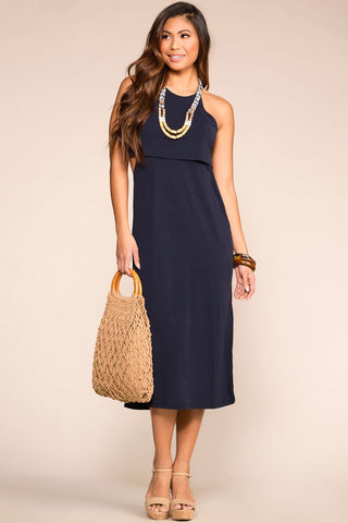 Mix It Up Black Twist-Front Dress