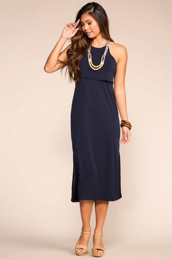Navy Layered Midi Dress with Halter Neck