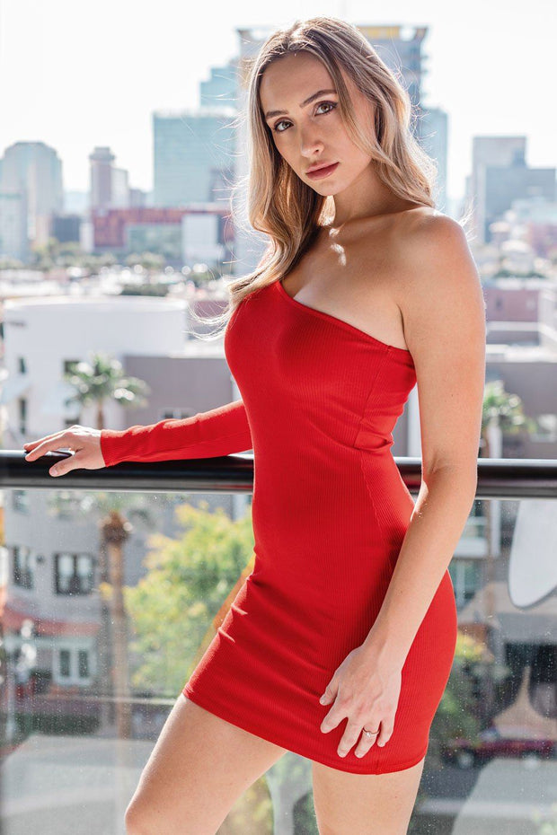 Red Asymmetrical Bodycon Mini Dress