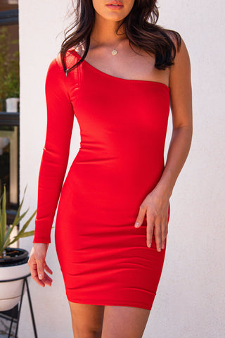Mona Olive Ribbed Mock Neck Bodycon Dress