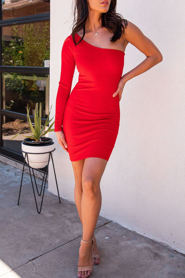 Bobbi Red Asymmetrical Bodycon Mini Dress