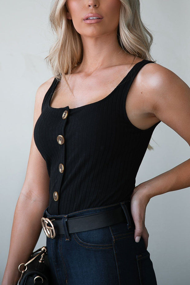 Black Ribbed Button Crop Top