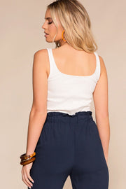 White Ribbed Button-Up Crop Top